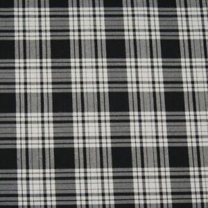 Polyviscose Tartan Fabric Fashion Black & White 50 Scottish Plaid Check Woven