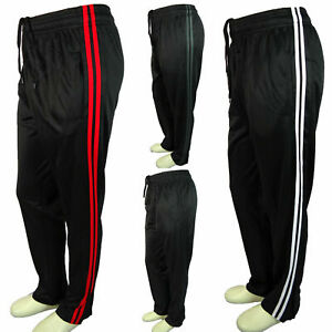 Men Black Sweatpants Red White Gray Sport Stripe Activewear GYM Work Out Dri-Fit