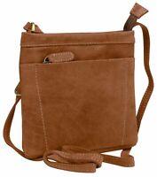 HGL Umhängetasche nature Ledertasche Reißverschlusstasche Tasche