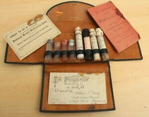 Antique Burroughs Wellcome Leather Dr's, Apothocary Case, Glass Vials, Paperwork