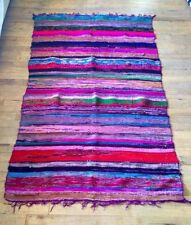 Purple Color Rag Rug Recycled Hand loom Cotton Braided Runner Yoga Mat 3X5