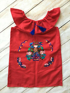 Handmade Girls Embroidered Red Mexican Dress Size 2T 4T 6 8 Mexico Fiesta Dress