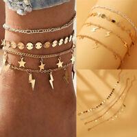 4Pcs/Set Bohemian Lady Lightning Stars Sequins Gold Chain Bracelet Foot Anklets