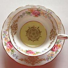 Westbrook Vintage Tea Cup & Saucer Set White Yellow Florals and Gold Medallion V
