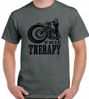 Biker T-Shirt Mens Funny Motorbike Motorcycle Cafe Racer My Bike Is My Therapy