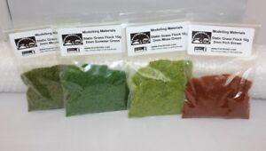 2mm Static Grass Flock 4 Pack -Moss,Meadow,Summer Green+Brown - First Class Post