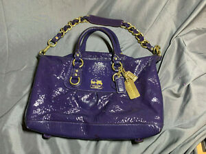 Auth COACH Madison Patent Leather Sabrina 12957 Purple Handbag