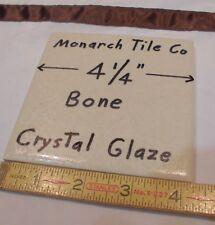 "1 pc. *Bone* Square Ceramic Tile  4-1/4""  *Crystal Glazed* by Monarch Co.  NOS"