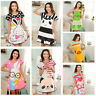 Cartoon Women Polka Dot Pajamas Short Sleeve Sleepwear Sleepshirt Sleepdress