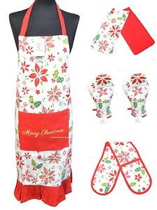 100% Cotton Apron Oven Mitt Gloves Tea Towels Cooking BBQ Merry Xmas Gift Set