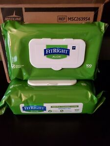 6 Packs of FitRight Aloe Personal Cleansing Cloth Wipes Unscented 100 Count Each