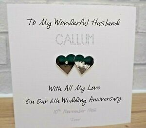 Handmade Personalised 6th Iron Wedding Anniversary Card Husband Wife Couple