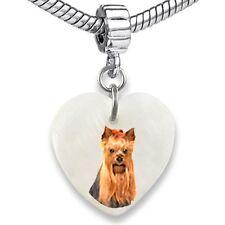 Yorkshire Yorkie Terrier Heart Natural Shell European Bracelet Charm Bead EBS292
