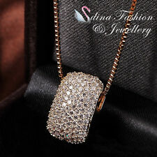 18K Yellow Gold Plated Simulated Full Diamond Studded Curved Rectangle Necklace
