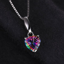 "18mm Genuine Luxury Mystic Topaz 16"" Necklace Pendant 925 Silver Special Gift"