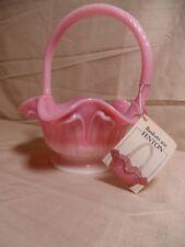 "Fenton 8"" Signed Bill Fenton-Pink Glass Basket Dish"