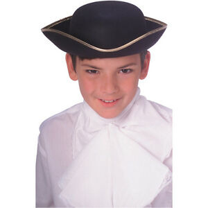 Boys Black Tri-Corn Pirate Hat Renaissance 3-Sided Cap Gold Trim Tricorn Kids