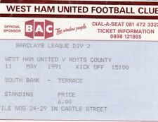 Ticket - West Ham United v Notts County 11.05.91
