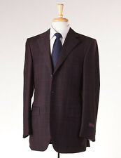 NWT $4295 D'AVENZA Chocolate Brown-Pink Windowpane Soft Flannel Wool Suit 38 R