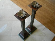 Maitland Smith Aged Regency Textured Metal Candlesticks