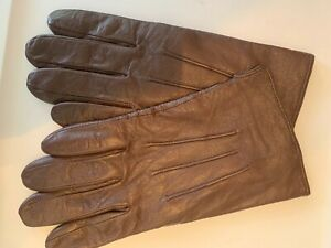 Brown Genuine Leather Men's Cashmere Lined Gloves Size 10