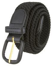 "Black Leather Covered Buckle Woven Elastic Stretch Belt 1-1/4"" Wide, Black"