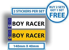 2 x Boy Racer Para Niños Niños matrículas Pegatinas Paseo en coches camiones jeeps