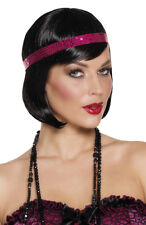 Ladies 1920s Black Wig & Headband Sexy Flapper Chicago Fancy Dress Costume NEW