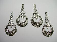 Silver Plated Brass Filigree Drops Earring Findings - 4
