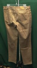 """ANNE KLEIN  GOLD FOILED METALLIC MID-RISE SKINNY JEANS PANTS Size 4 waist 32-33"""""""