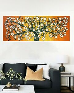 Framed Canvas Tree of life Print wall décor art painting orange  abstract 120cm