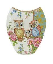 Cute Shabby White Ceramic Owl Bird With Rose's Ceramic Flower Vase