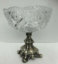 Beautiful Lead Crystal Bowl with Silver Metal Stand Vintage
