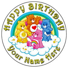 "CARE BEARS FUN PARTY - 7.5"" PERSONALISED ROUND EDIBLE ICING CAKE TOPPER"