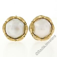 Vintage 14K Yellow Gold Large 13.5mm Bezel Set Mabe Pearl Button Omega Earrings