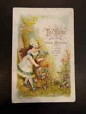 """""""The White"""" King of All Sewing Machines E.A. Barrows Victorian Trade Card"""