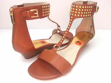 Michael Kors Women's Celena Wedge Leather Brown Sandals Sz 9.5M