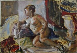 Russian Ukrainian Oil Painting female Portrait nude girl woman Expressionism