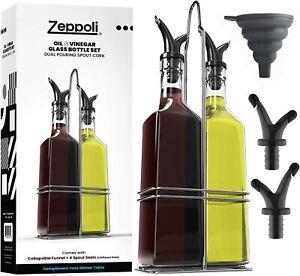 Zeppoli Oil and Vinegar Bottle Dispenser Set with Stainless Steel Rack and Cork
