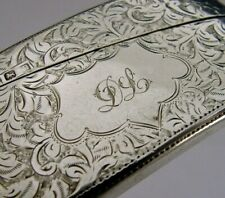 ENGLISH SOLID STERLING SILVER CARD CASE 1912 ANTIQUE