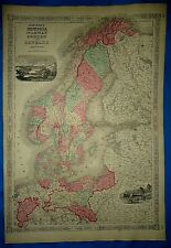 Vintage 1864 Atlas Map ~ SWEDEN - NORWAY ~ Old & Antique Authentic ~ Free S&H