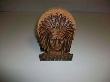 Vintage Cork Coasters in Wood Holder w/ MONTREAL QUEBEC & Native Chief