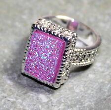 SILVER Vintage Style Pink Rainbow Titanium Druzy 10x14mm Ring Size 9