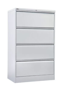 4 Drawer Lateral Storage Steel Filing Office Lockable Cabinet GO - Heavy Duty
