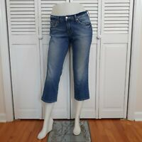 Lucky Brand Size 4/27 Classic Rider Cropped Pocket Stitch Med Wash Capri Jeans