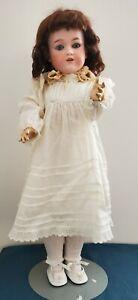 """Antique German Bisque Head Doll Marked G.B. Working Blue Sleep Eyes 24"""" Nice"""