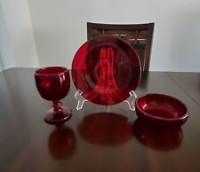 Collectible Vintage Red Ruby Goblets Glass, Plate and Bowl