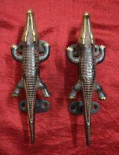 Alligator Shape Decorative Door Handle Pair Handcraft Brass Gate Puller VR421