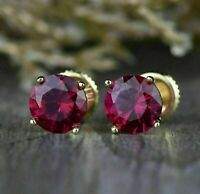 2 Ct Red Ruby Round-Cut Screw Back Stud Earrings Women's 14k Yellow Gold Over