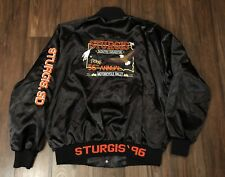 Vintage 90s Sturgis 1996 Satin Jacket South Dakota Motorcycle Rally Harley Sz XL